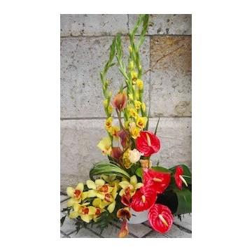 Centro decorativo anthurium, gladiolo, orquidea,....