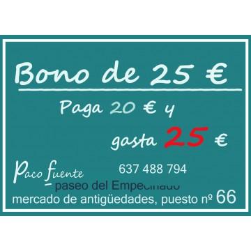 BONO de 25 € - Paga 20 € y gasta 25 €